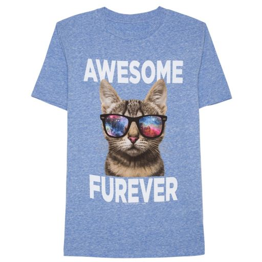 """Boys 8-20 Cat """"Awesome Furever"""" Tee"""