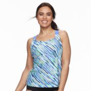 Plus Size ZeroXposur Striped Racerback Tankini Top