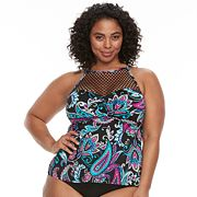 Plus Size Apt. 9® High Neck Flyaway Tankini Top