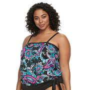 Plus Size Apt. 9® Banded Paisley Tankini Top