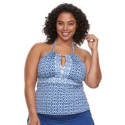 Plus Size Apt. 9® High Neck Keyhole Tankini Top