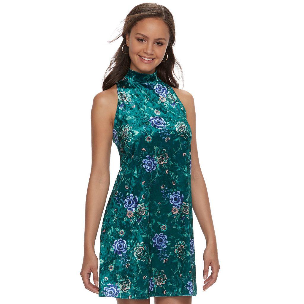 Juniors' Mudd® Floral Velvet Swing Dress