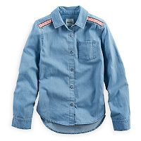 Girls 7-16 & Plus Size Mudd® Embroidered Shoulder Chambray Button-Down Shirt
