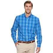 Big & Tall IZOD Sportflex Regular-Fit Plaid Stretch Performance Button-Down Shirt