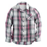 Girls 7-16 Mudd® Lace Back Yoke Plaid Button-Down Shirt