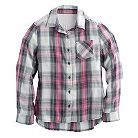 Girls 7-16 Mudd® Lace Back Yoke Plaid Button-Down Shirt