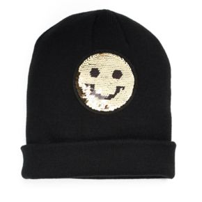 Mudd® Winking Smiley Face Reversible Sequin Beanie