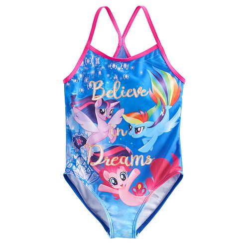 "Girls 4-6x My Little Pony ""Believe In Dreams"" One Piece Swimsuit"