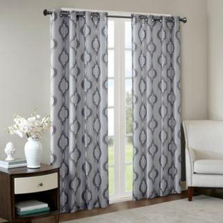 Madison Park Della Faux Silk Embroidered Window Curtain