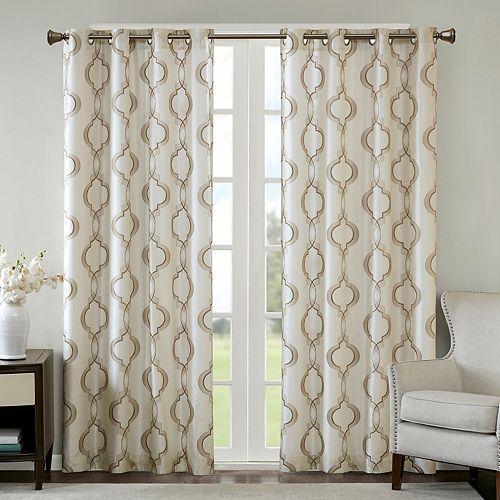 Madison Park 1-Panel Della Faux Silk Embroidered Window Curtain