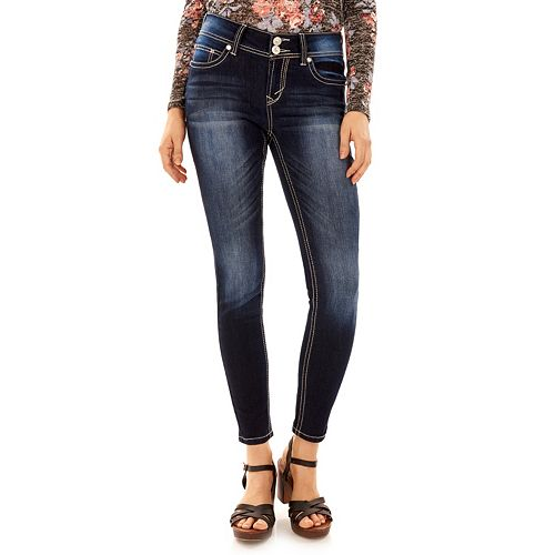 Juniors' Wallflower Curvy Bling Ankle Jeans