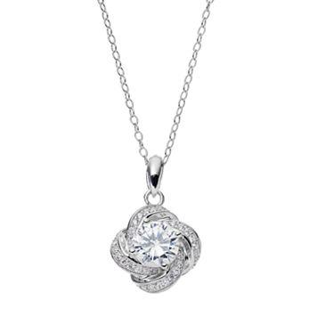 PRIMROSE Sterling Silver Cubic Zirconia Love Knot Pendant Necklace