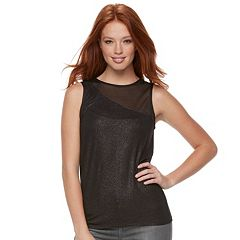 Women's Rock & Republic® Glitter Mesh Tank
