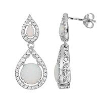 Sterling Silver Simulated Opal & Cubic Zirconia Double Teardrop Earrings