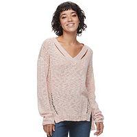 Juniors' Mudd® Cut-Out V-Neck Sweater