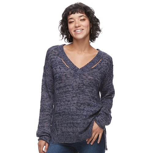 Juniors' Mudd® Cut-Out V-Neck Sweater