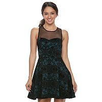 Juniors' Trixxi Flocked Skater Dress