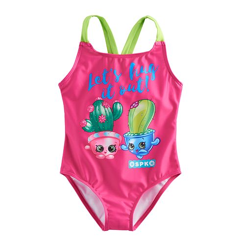 "Girls 4-6x Shopkins Pickles & Cactus ""Let's Hug It Out"" One Piece Swimsuit"