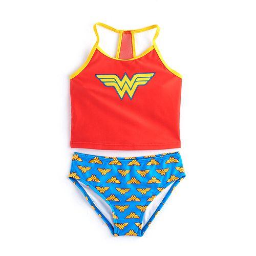 Girls 4-6x DC Comics Wonder Woman 2-pc. Tankini & Scoop Bottoms Swimsuit Set