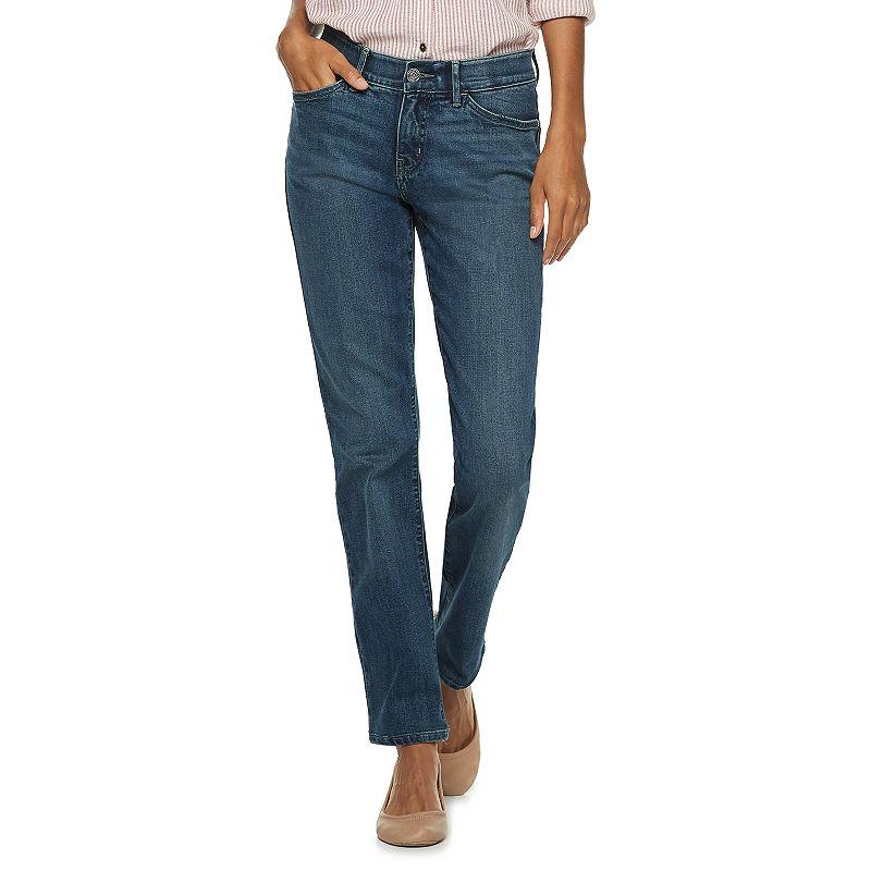 Women's Lee Flex Motion Regular Fit Straight-Leg Jeans, Size: 4 - regular, Dark Blue