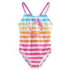 Girls 4-6x Hello Kitty® Rainbow Striped One Piece Swimsuit