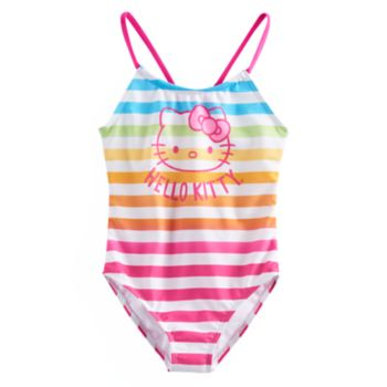 Girls 4-6x Hello Kitty® Rainbow Striped One Piece Swimsuit