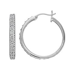 Platinum Over Silver 1/10 Carat T.W. Diamond Hoop Earrings