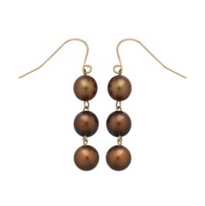 14k Gold Dyed Freshwater Cultured Pearl Drop Earrings