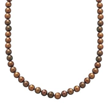 14k Gold 7-mm Chocolate-Dyed Freshwater Cultured Pearl Necklace