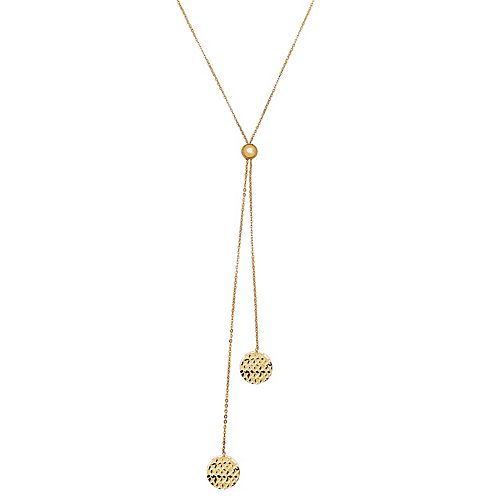 Everlasting Gold 10k Gold Textured Disc Necklace