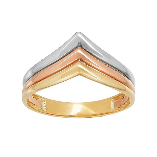 Everlasting Gold Tri-Tone 10k Gold Chevron Ring