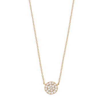 love this life Gold Tone Sterling Silver Cubic Zirconia Disc Necklace