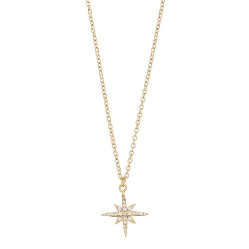 love this life Gold Tone Sterling Silver Cubic Zirconia Star Pendant