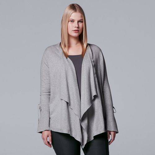 Plus Size Simply Vera Vera Wang Tie-Accent Flyaway Cardigan