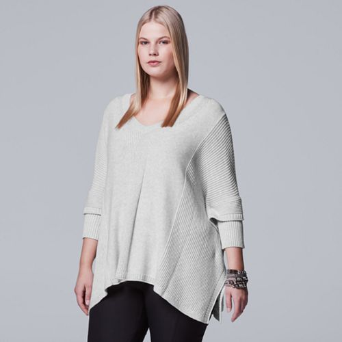 Plus Size Simply Vera Vera Wang V-Neck Sweater Poncho