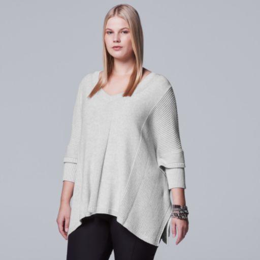 Plus Size Simply Vera Vera Wang V-Neck Sweater Poncho