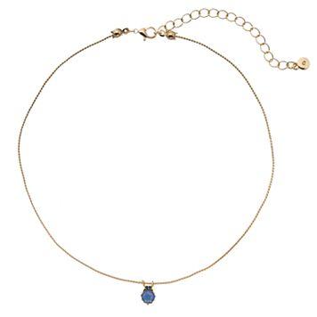 LC Lauren Conrad Blue Hexagon Pendant Choker Necklace