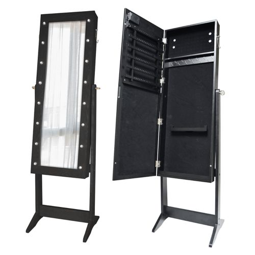 New View Marquee Wall, Floor & Over-The-Door Mirror Jewelry Cabinet