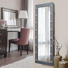 New View Marquee Wall, Floor & Over-The-Door Mirror Jewelry Cabinet