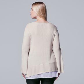 Plus Size Simply Vera Vera Wang Mock-Layer V-Neck Sweater