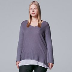 Plus Size Simply Vera Vera Wang Mock-Layer V-Neck Sweater