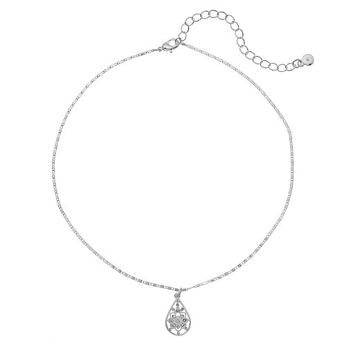 LC Lauren Conrad Textured Openwork Teardrop Pendant Choker Necklace