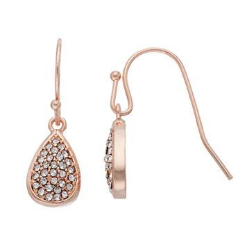 LC Lauren Conrad Pave Nickel Free Teardrop Earrings