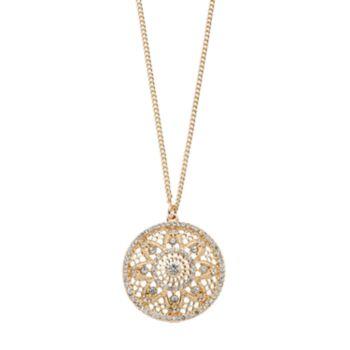 LC Lauren Conrad Long Openwork Flower Disc Pendant Necklace