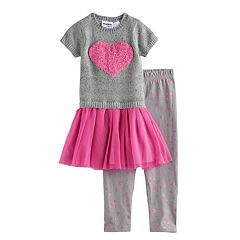 Toddler Girl Blueberi Boulevard Heart Sweater Tutu Top & Heart Leggings Set