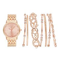 Women's Crystal Accent Watch & Bangle Bracelet Set