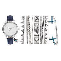 Women's Crystal Charm Watch & Bracelet Set