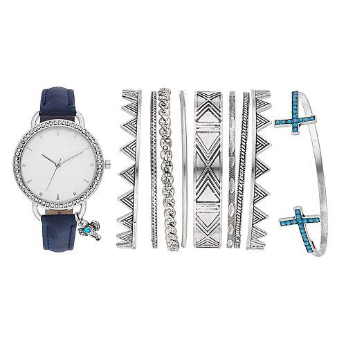 Women's Crystal Charm Watch & Bracelet Set