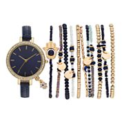 Women's Crystal Hamsa Charm Watch & Beaded Stretch Bracelet Set