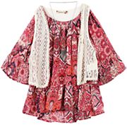 Girls 7-16 Speechless Crochet Vest & Chiffon Flounce Top with Necklace